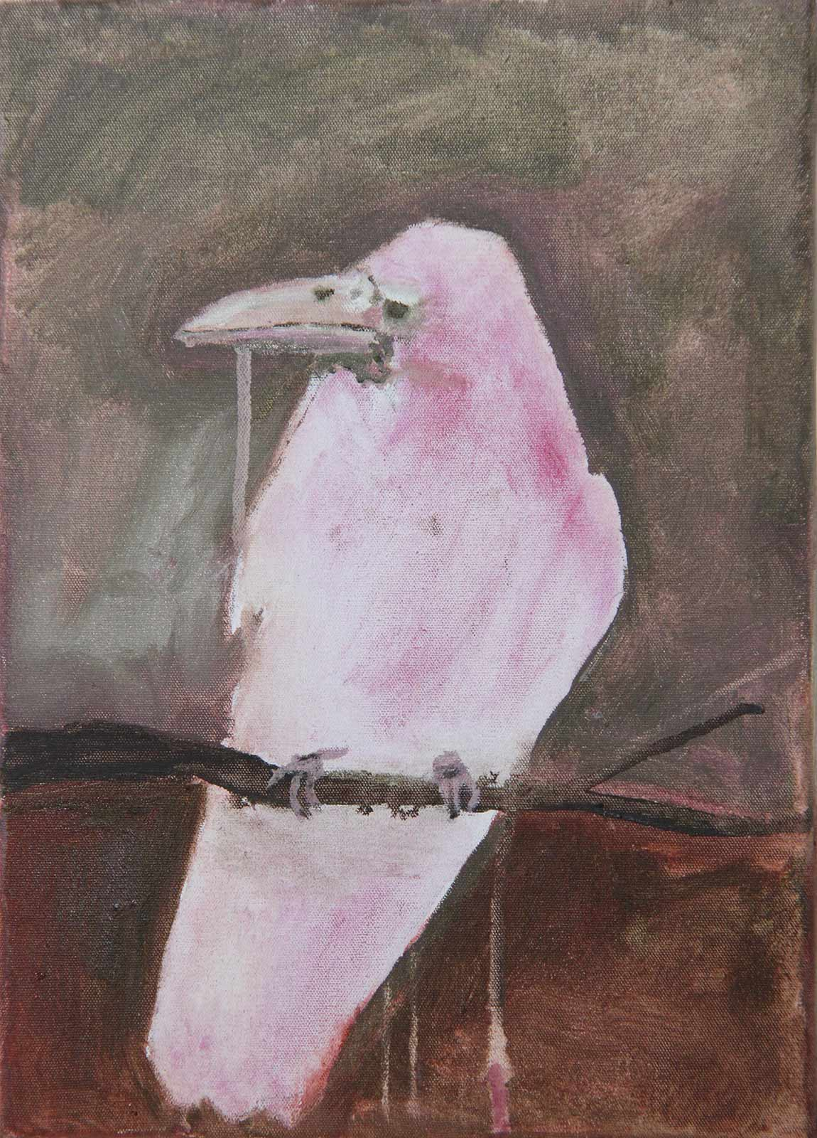 art painting crow pink brown