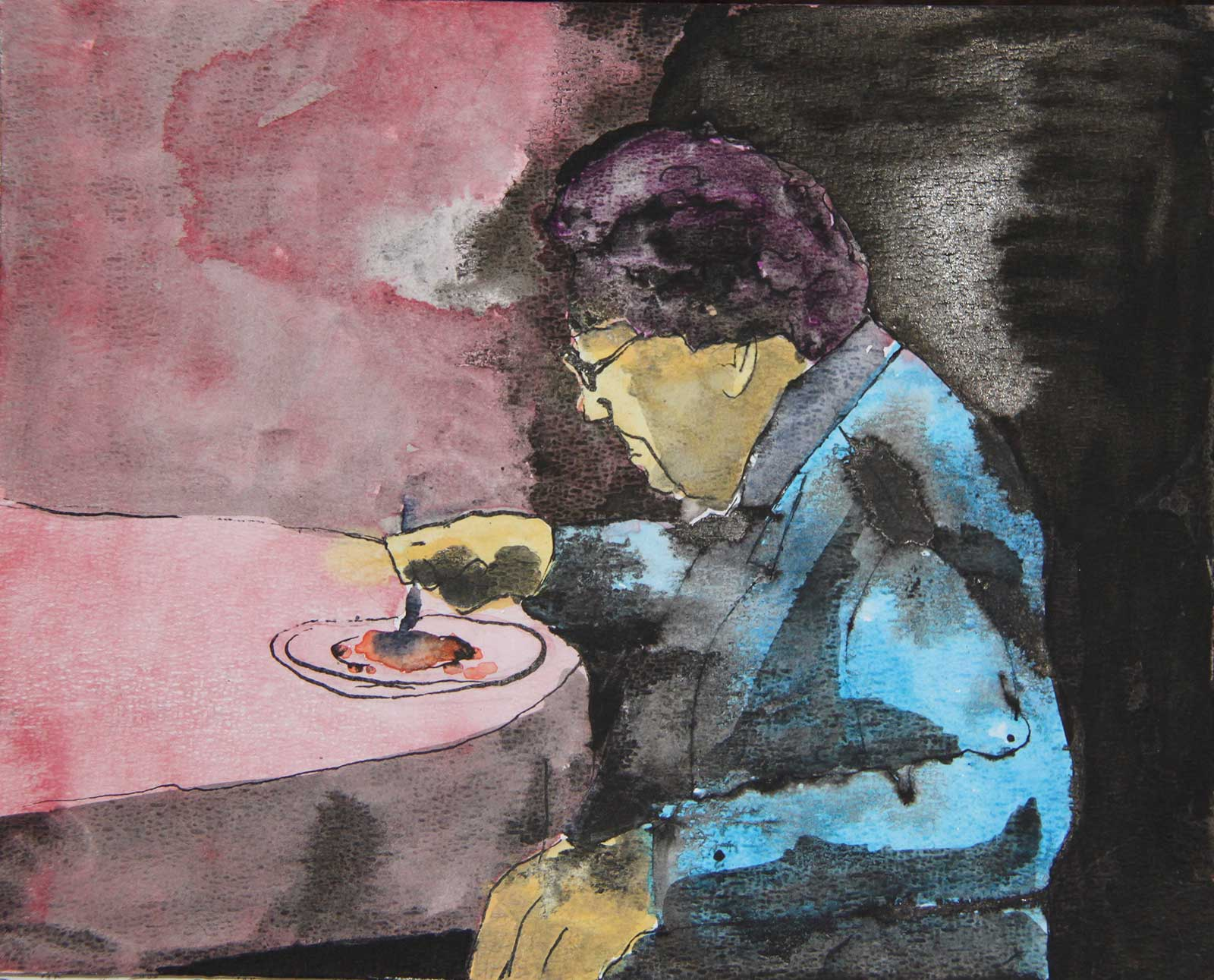 art watercolor old lady