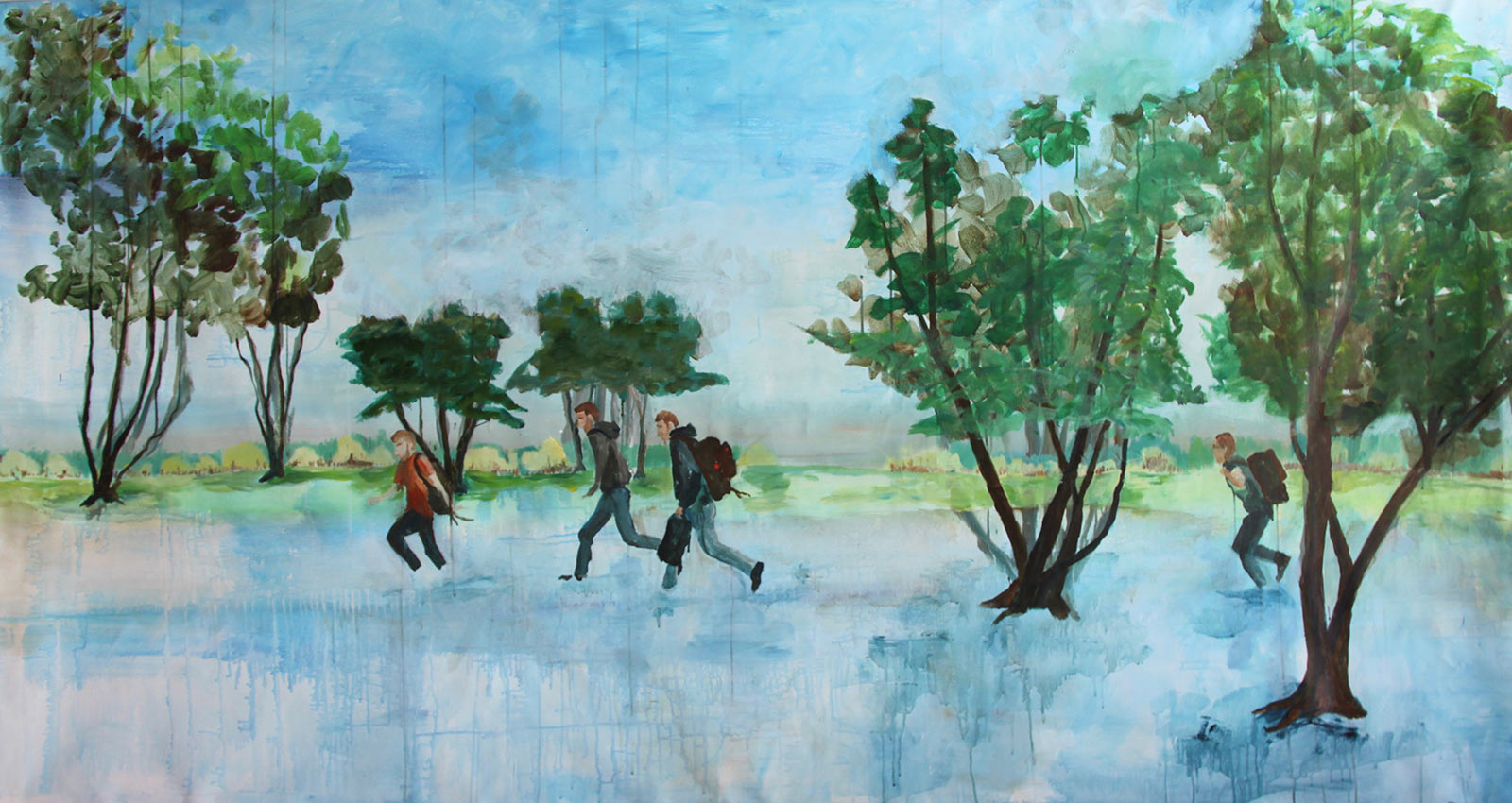 painting refugees flee