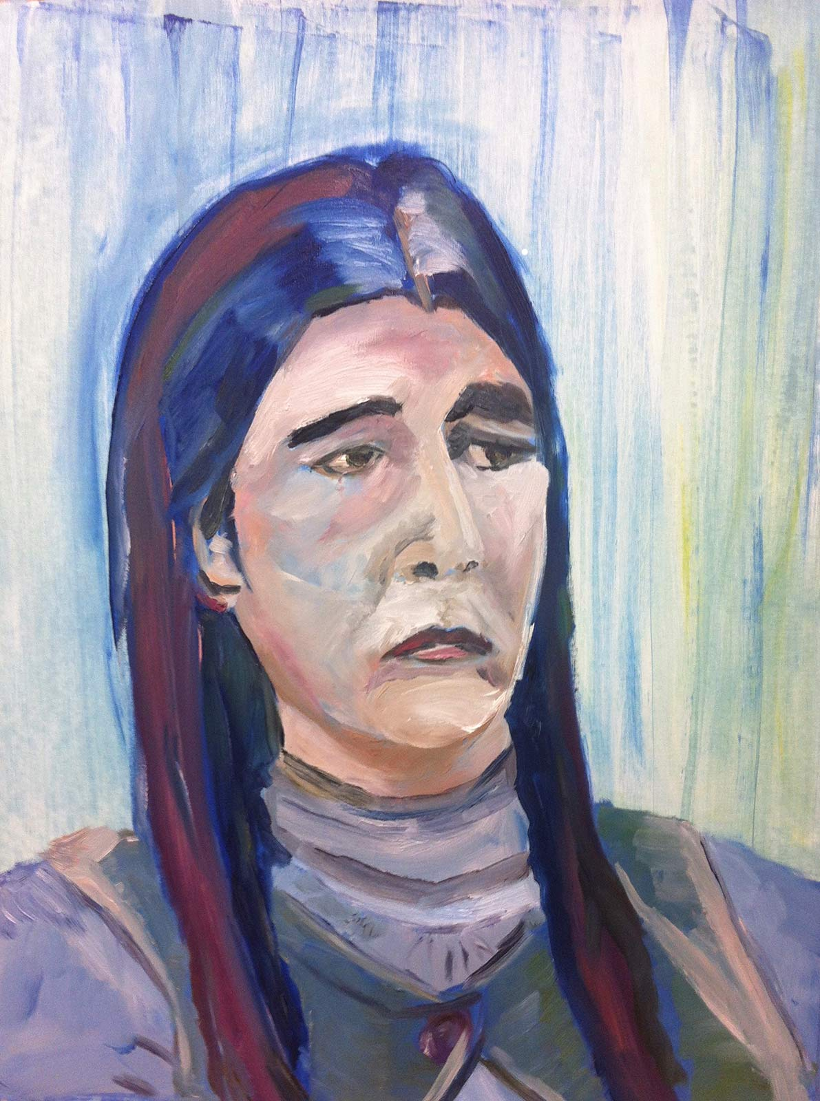 painting sad lady art