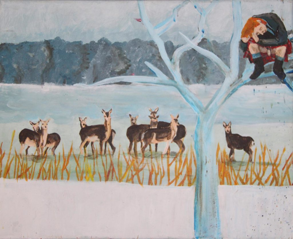 painting art scot dick tree deer