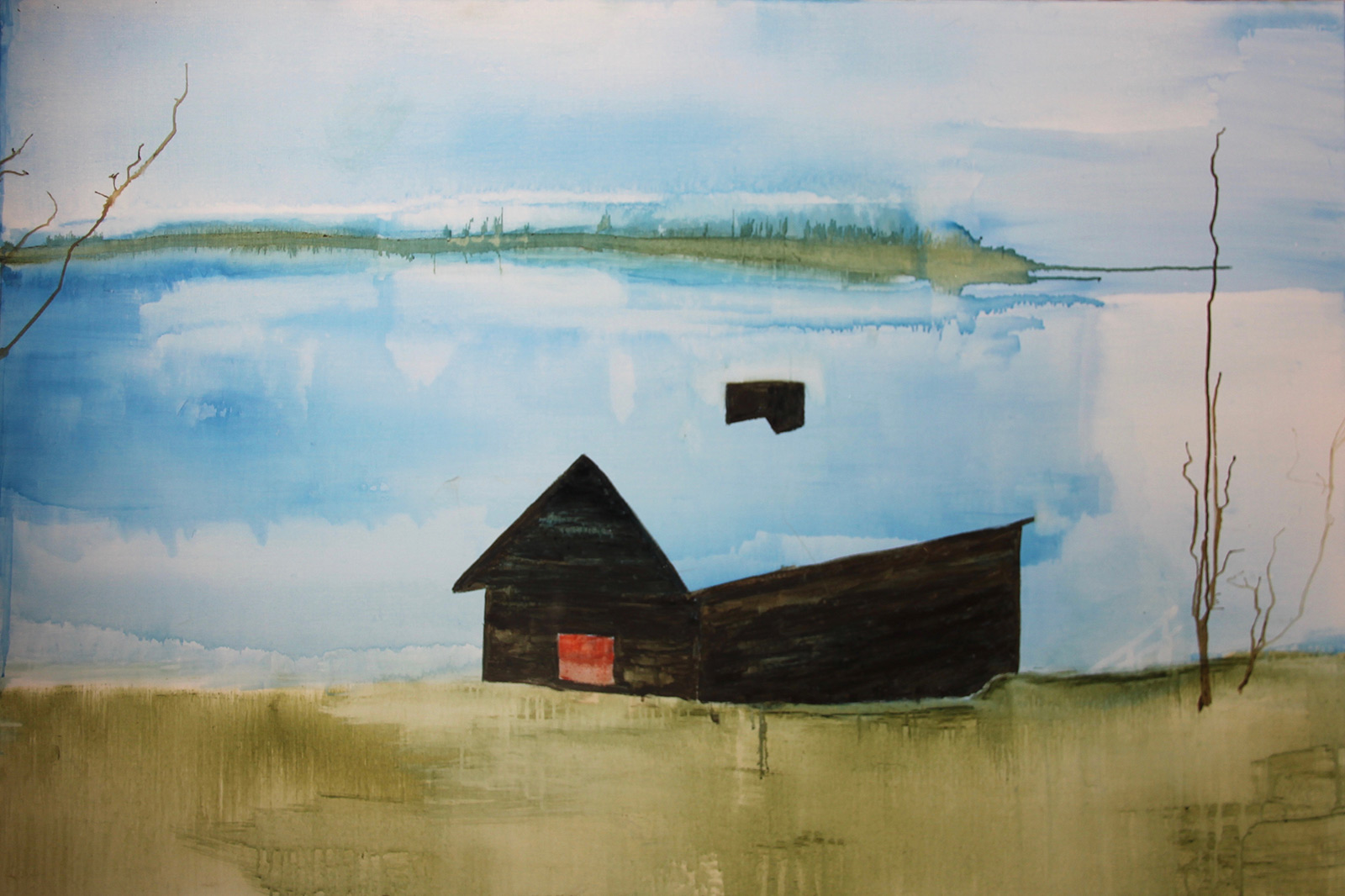 House Lake Finland oil on canvas
