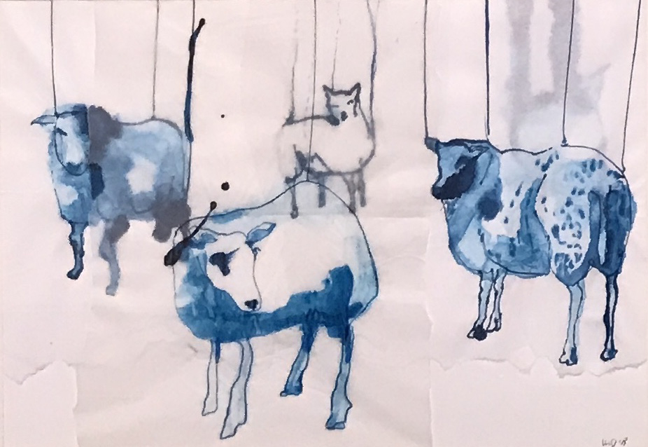 Ink drawing collage flock of sheep contemporary art